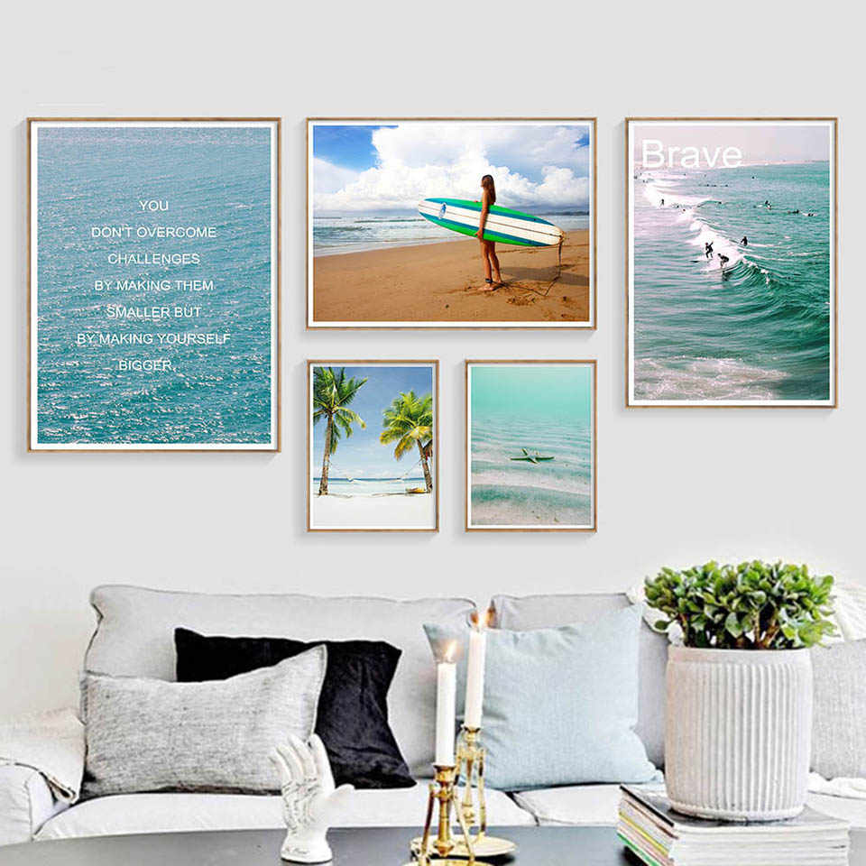 Ocean Beach Surfing Landscape Poster Canvas Motivational Quote Art Print Noridc Style Painting Wall Picture Modern Home Decor