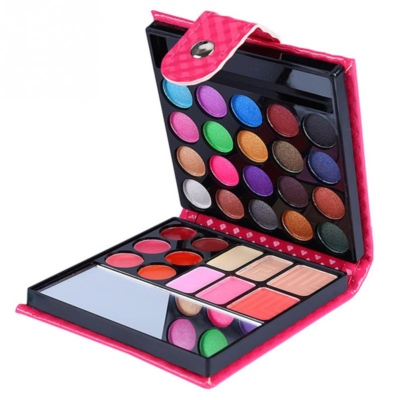 Image 2 - Cosmetics Shimmer Pearl Eyeshadow Palette Natural 32 Colors Makeup Up Modification Lip Gloss Blush Set Brush Button Bag-in Makeup Sets from Beauty & Health