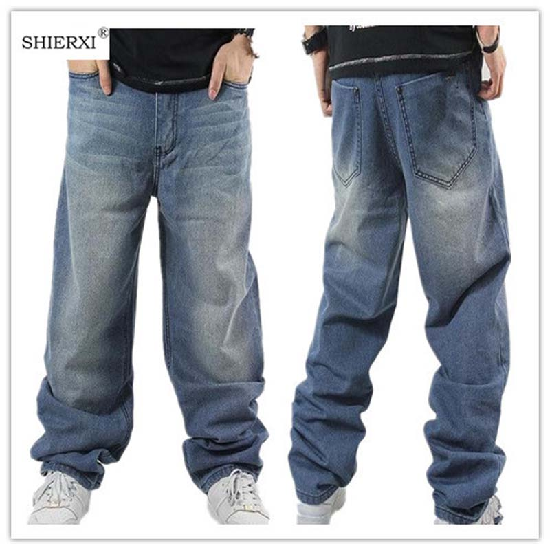 Image 2 - SHIERXI Man loose jeans hiphop skateboard jeans baggy pants denim pants hip hop men ad rap jeans 4 Seasons big size 30 46-in Jeans from Men's Clothing