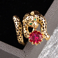 Leopard Gem Opening Ring For Women Luxury Unique High Quality Lady Party Jewelry