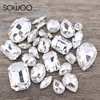 30pcs/lot Crystal Clear Mixed Shapes Mixed Sizes Sew On Rhinestone with Claw Glass Crystals Sewing Stone For Clothes Decoration