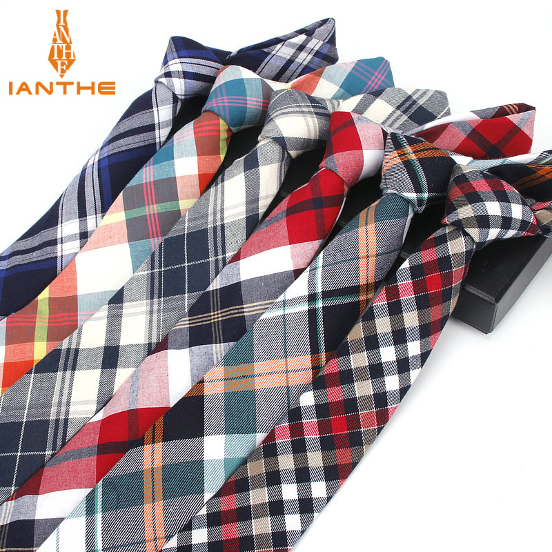 2018 Brand Cotton Tie High Quality Mens Fashion Casual 6cm Width Narrow Corbatas Plaid Neck Ties For Men Slim Neckties Wholesale