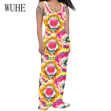 WUHE Women Fashion Vintage Floral Printed Long Maxi Dress Summer Sleeveless Hollow Out Casual Bohemian Beach Party Dresses