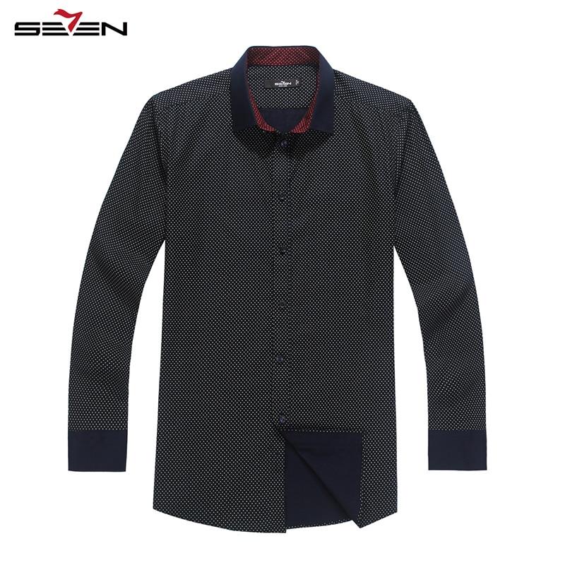 Seven7 Brand High Class Men Autumn Formal Dress Shirt 100 Cotton Polka Dot Long Sleeve Slim