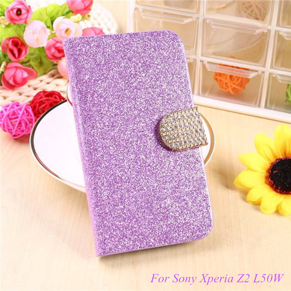 Fashion Bling Glitter Flip Case Cover For Sony Xperia Z2 D6503 D6502 D650 L50W Mobile Phone Case With Card Slot