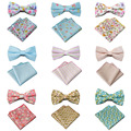 Men High Quality Floral Flowers Stripe Polka Dots Bow Tie Hanky Handkerchief Set SETYX0011