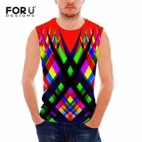 FORUDESIGNS 2017 Brand Tank Top Men Summer Fitness Tees Fashion 3D Printing Slim Breathable Sleeveless Male