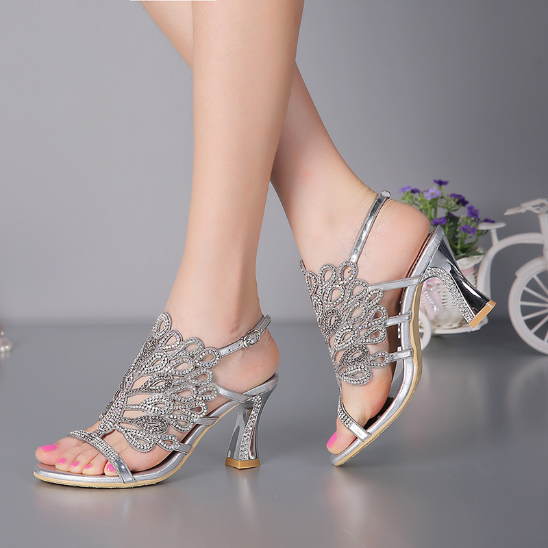 e4d91fba39b6 ... Genuine Heel Shoes Prom Heels Leather Chunky Wedding Shoes Inches Party Rhinestone  Silver Size Plus 3 ...