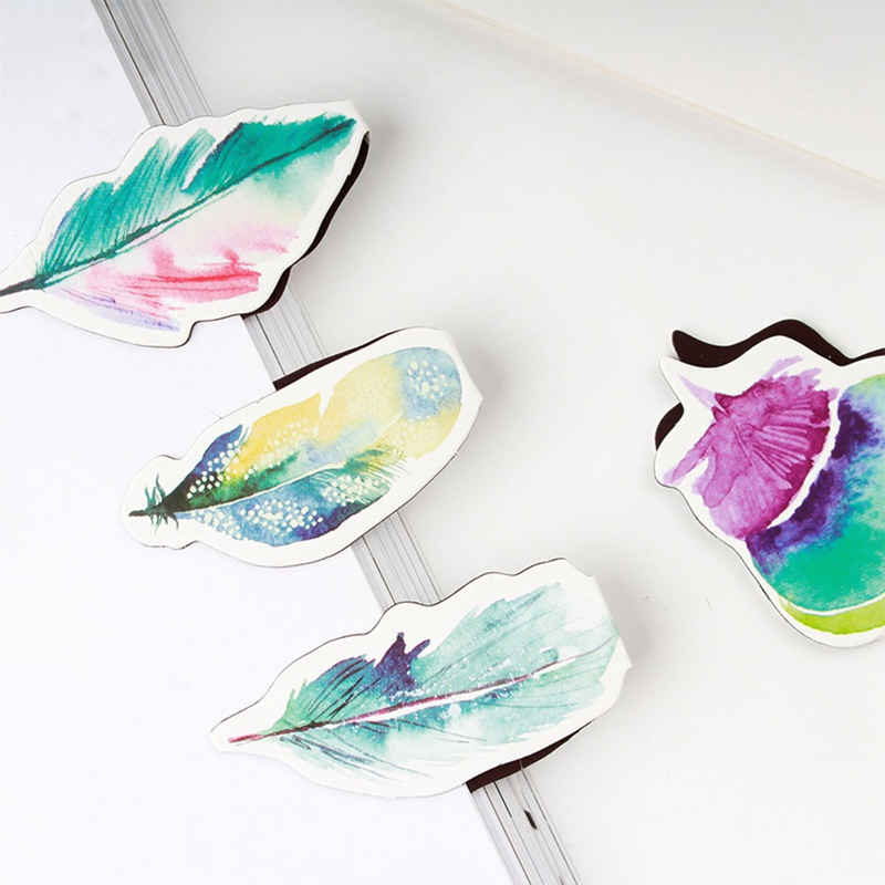 2Pcs/Lot Colorful Feather Magnet Bookmark Paper Clip School Office Supply Kids Gift Book Accessories
