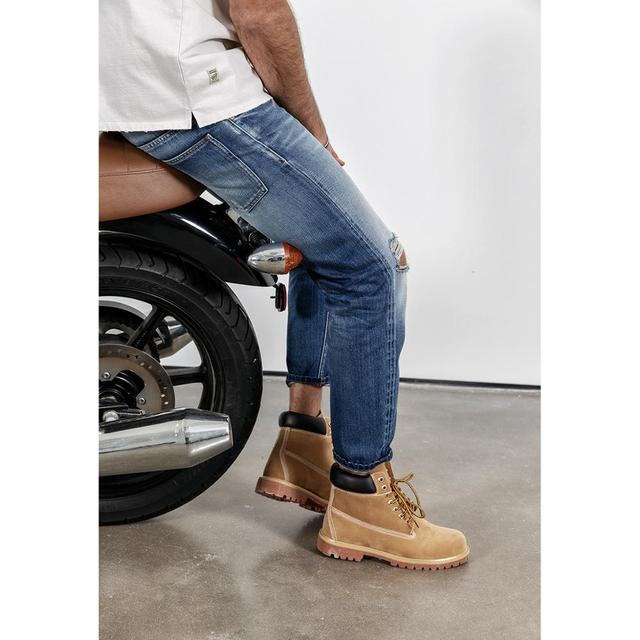 Men's Knee Ripped Jeans Cotton Straight Ankle-Length