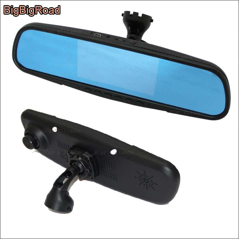 BigBigRoad Pour audi TT A1 Écran Bleu avant miroir DVR + vue arrière De Voiture caméra vidéo enregistreur Dash cam avec support d'origine