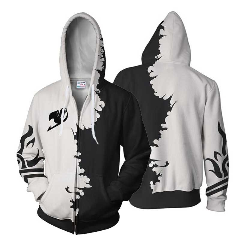 Off white and black Japanese samurai Anime 3d Zip up