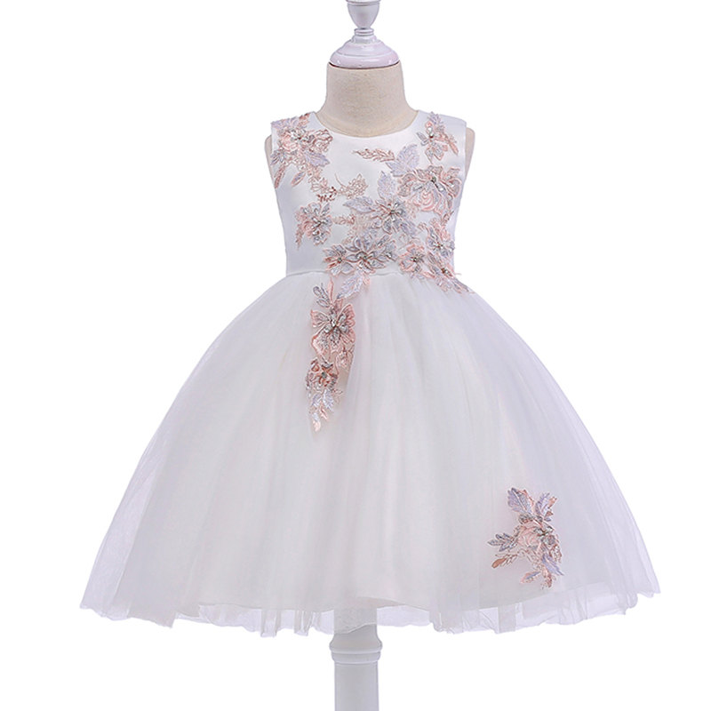 2019 White Flower Girls Dress Wedding Party Dresses for Kids Pearls Formal Ball Gown Evening Baby Outfits Tulle Girl Frocks