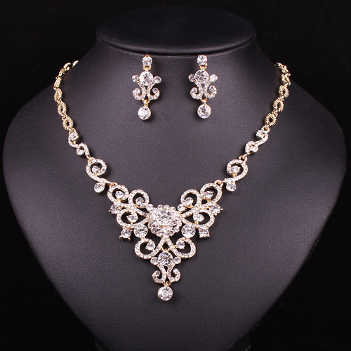 Fashion Modern Design Cheap Floral Bridal Wedding Necklace Earring Set Crystal Jewelry For Prom Bridesmaid Accessories