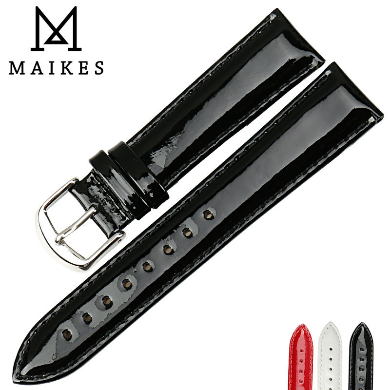 MAIKES Genuine Leather Watch Band 12MM 14MM 16MM 18MM 20MM Strap Watch Bracelet Black Patent Leather Watchband Watch Accessories
