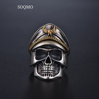 SOQMO 925 Silver World War II Soldier Anniversary Mens Rings Punk Rock Vintage Adjustable Size Skull Ring Biker Men Jewelry