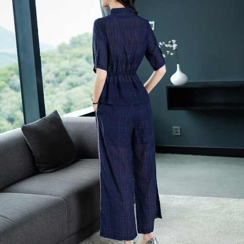 2019 Summer Two Piece Sets Outfits Women Blue Pink Short Sleeve Tunics Tops And Wide Leg Pants Suits Office Elegant 2 Piece Sets 41
