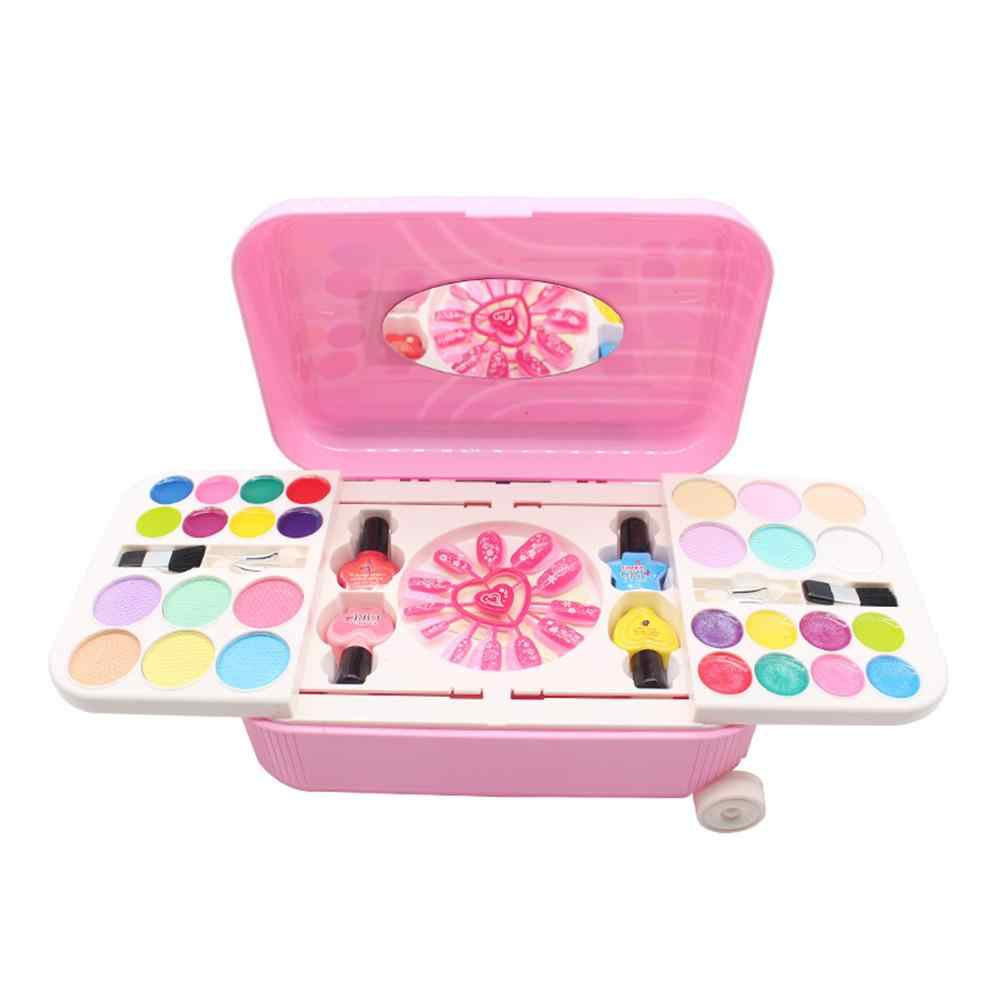 Принцесса Набор косметики для макияжа игрушка лак для ногтей макияж наборы милый игровой дом детский подарок чемодан ролевые игры игрушки