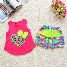 Baby Kids Girls Love Heart Print Tank Tops + Floral Shorts Pants Outfits Sets