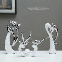 3 шт./компл. Европейский стиль керамики украшения ремесла фигурки и миниатюрные любовь Декор для дома, птица аксессуары