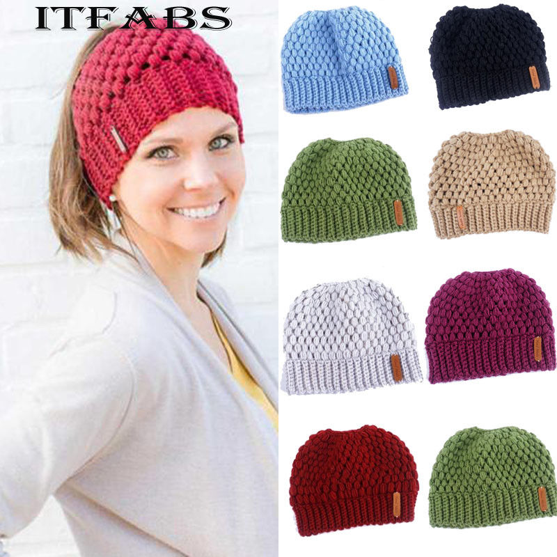 Female Knit Hat Ponytail   Beanie   Winter Cap For Crochet Knit Cap Holey Warm Hats