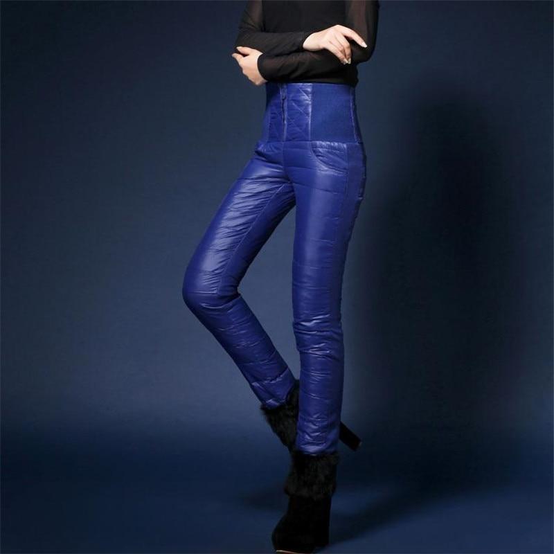 df848136dc1 Female plus size Winter Plus Velvet Thick PU Down Pants Warm Pencil Pants  woman Warm Waterproof slim down Trousers R96 G503