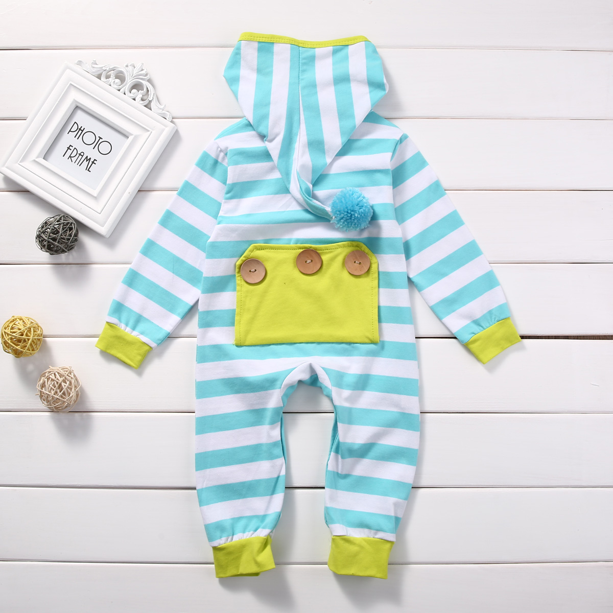 Newborn Infant Baby Boy Girl Cute Hooded Clothes Romper Long Sleeve striped Jumpsuit Outfit Rompers autumn winter baby girl rompers striped cute infant jumpsuit ropa long sleeve thicken cotton girl romper hat toddler clothes