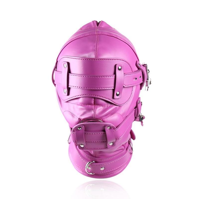купить New Fetish SM Hood Headgear With Mouth Gag PU Leather BDSM Bondage Sex Mask Hood Toys Adult Games Sex Product For Couples. недорого