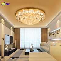 FUMAT Remote Control Round Crystal K9 Stainess Steel LED Ceiling Lamp Luxury Delicate Crystal Balls And Bars For Dining Room