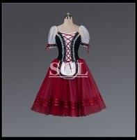 Aduilt/Meisjes Giselle Tutu Rok Voor Ballet Prestaties Concurrentie Geel/Burgundry 5 lagen Zachte Tule Rok Met PantsAT1528
