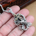 100% Real 925 Sterling Silver Vintage Dragon And Cross Pendant Necklace Jewelry For Men Or Wonmen Punk Thai Silver