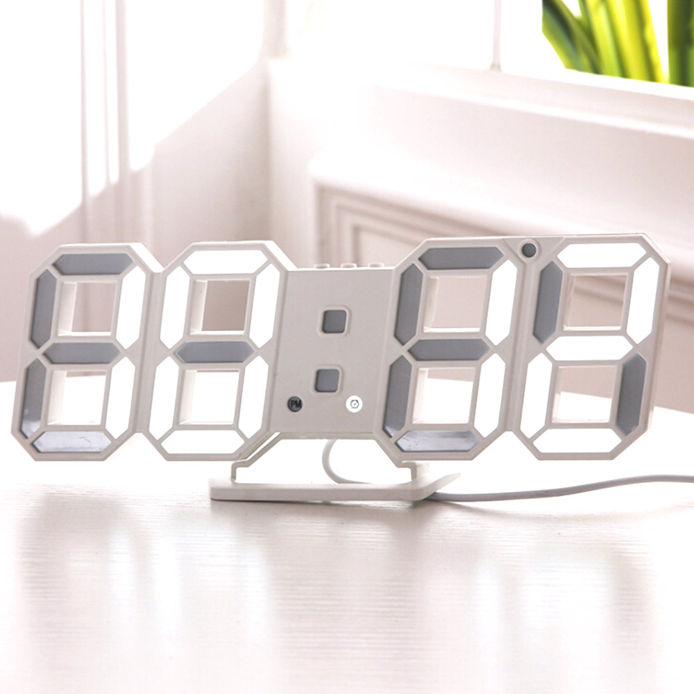 3D LED Wall Clock Modern Digital Table Alarm Clocks Display Home Kitchen Office Desk Night Wall Clock 24 or 12 Hour Display image