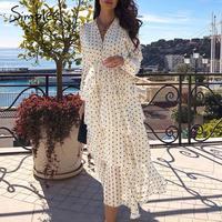 Simplee Elegant polka dots chiffon dress women Long sleeve ruffled long cake dresses female Vintage ladies party dress vestidos
