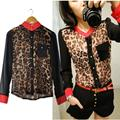Women Chiffon Floral Print Lapel Shirt Long Sleeve Loose Tops Blouse