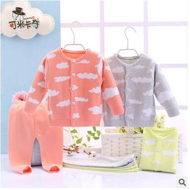 Meninos das meninas do bebê Camisola do bebê 2 pcs de alta qualidade casacos + calças do bebê conjuntos de roupas de outono 3 cores