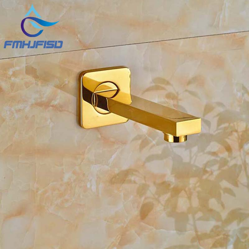 Wholesale And Retail Free Shipping Golden Brass Bathroom Shower Tub Spout Wall Mounted Square Tub Spout 1/2 Connection