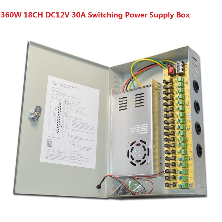 360W 18CH DC12V 30A Switching Power Supply box For 18 Ports CCTV Cameras цена