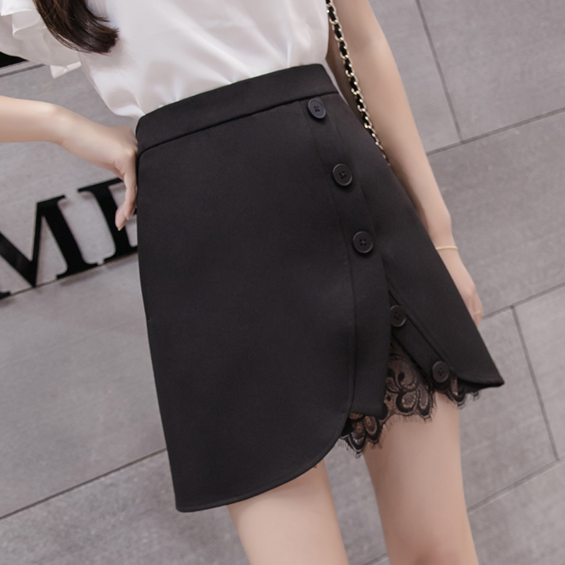 2018 New Spring Women Short Skirt Patchwork Slim Wire Side Split A Word Skirts Black 601