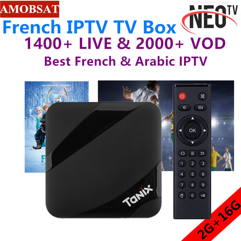 TX3 MAX Android 7.1 TV BOX Mit Ein jahr NEO pro Französisch IPTV abonnement BT4.1 H.265 4K Plays pk Mi smart set-top-TV Box