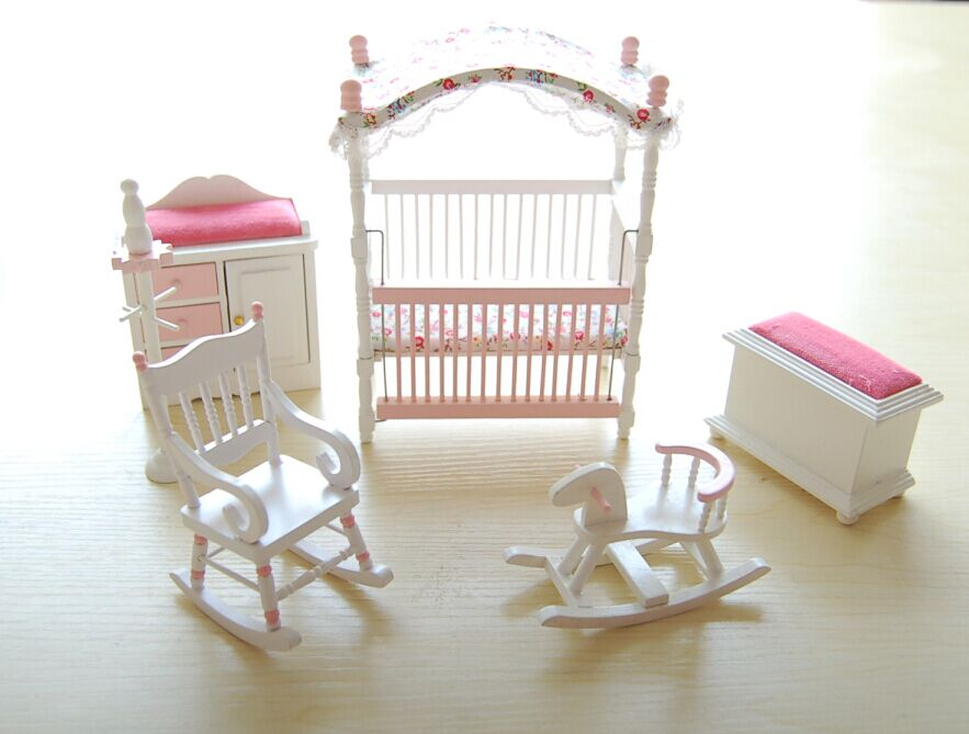 Pink Kids Dolls House Bedroom Furniture Wooden Toys Bed Rocking Chair Horse  Baby 1 12 Scale