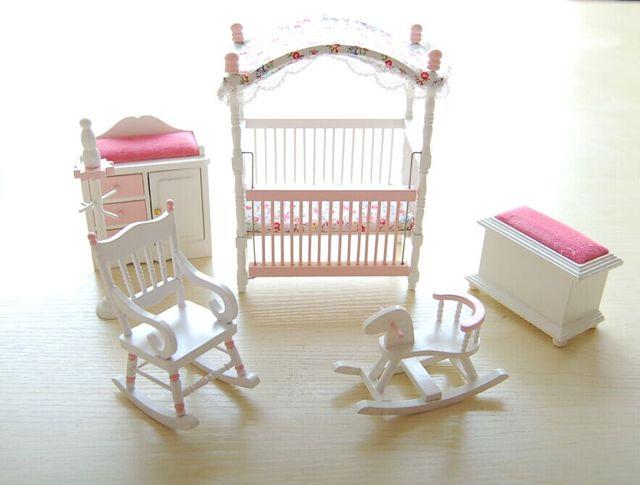 Aliexpress.com : Rosa kinder puppenhaus schlafzimmer möbel holz ...