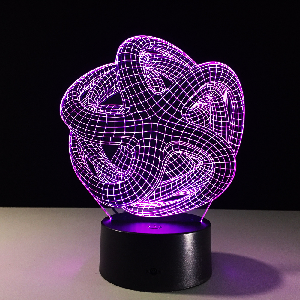 Abstraction 3D Night Light RGB Changeable Mood Lamp LED Light DC 5V USB Decorative Table Lamp Special Art Home Office Party Deco cat 3d night light animal changeable mood lamp led 7 colors usb 3d illusion table lamp for home decorative as kids toy gift