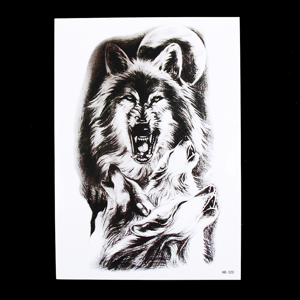 1pc Fake Tattoo Temporary 2018 Hot Moon Wolf Howl Picture HB320 Design Cool Women Men Body Back Arm Art Sticker Decor New