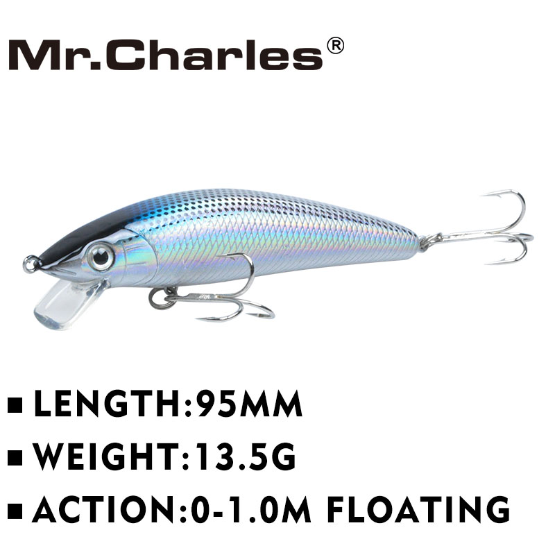 Mr.Charles MR90 1 Pcs Fishing Lures ,95mm/13.5g Quality Professional Minnow Hard Baits 0- 1.0m Floating 3D Eyes