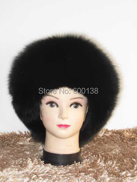 winter new fashion full fox fur hat with leather winter