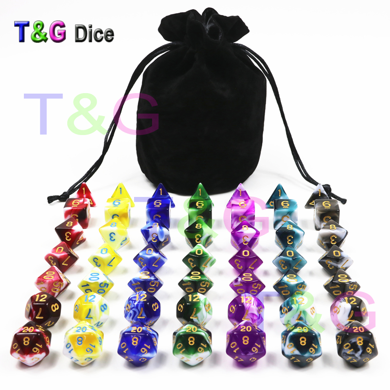 7sets/pack Polyhedron Role Playing Multi-sided Dice For Card Board Club Party Game Dungeons Dragons MTG RPG Xmas Gift