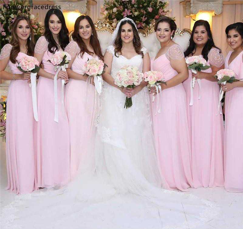 Pink Chiffon Long   Bridesmaid     Dresses   2019 Summer Country Garden Wedding Party Guest Maid of Honor Gowns Plus Size Custom Made