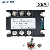 KZLTD SSR 25A Three Phase Solid State Relay SSR 25A SSR Relay Three Phase Power Regulator