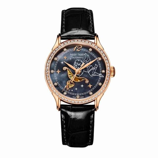R eefเสือรักSerier RGA1550หรูหรานาฬิกาของผู้หญิงเลดี้ข้อมือนาฬิกาRose G Oldโทนแม่ของมุกแบบDialดูหนังสาย-ใน นาฬิกาข้อมือสตรี จาก นาฬิกาข้อมือ บน   2