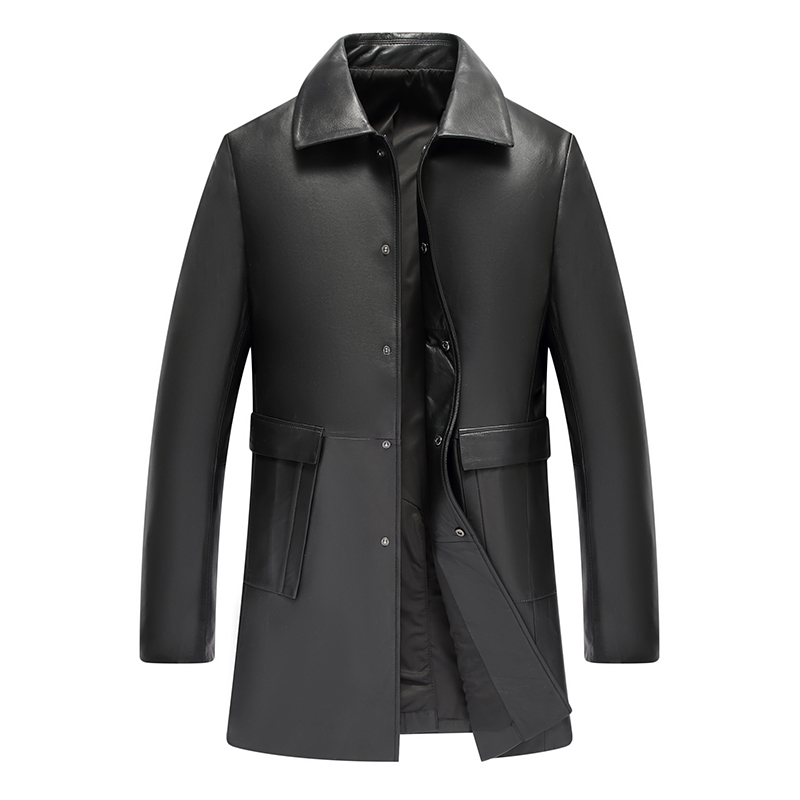 Autumn Winter Turn-down Collar Mens Sheep Skin 100% Real Leather Jacket Jaqueta De Couro Masculino Coats For Male Biker(China)